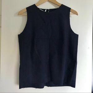 NWT Mango Premium navy wool sleeveless crop top